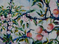 "Espalier, 2016, oil, 2 panels, each 12"" x 12"""