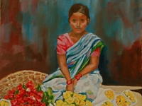 "Flower Girl, Mumbai, 16"" x 20"""