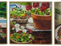 """Summer garden, 3 panels, 12"""" x 36"""""""